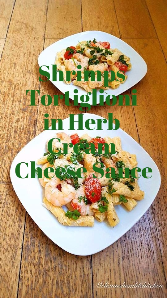 Shrimps Tortiglioni in Herb Cream Cheese Sauce